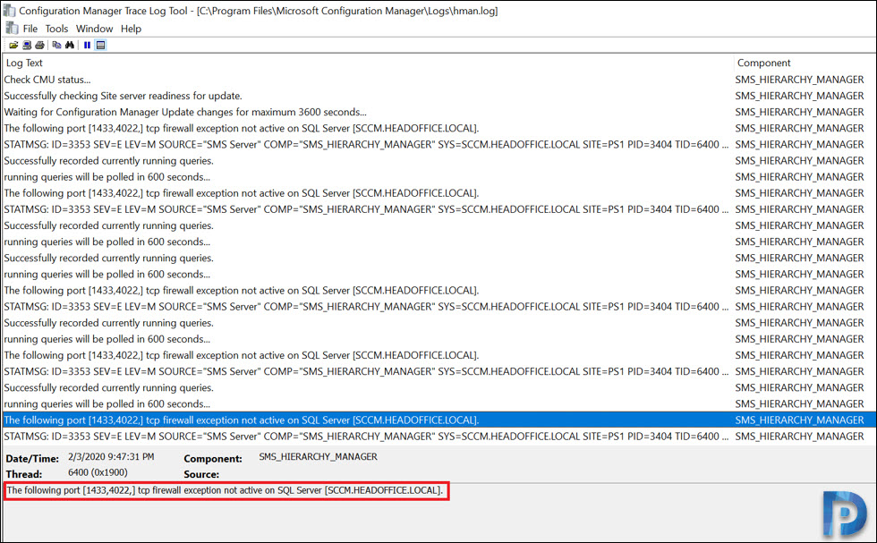 The following port [1433,4022] tcp firewall exception not active on SQL Server