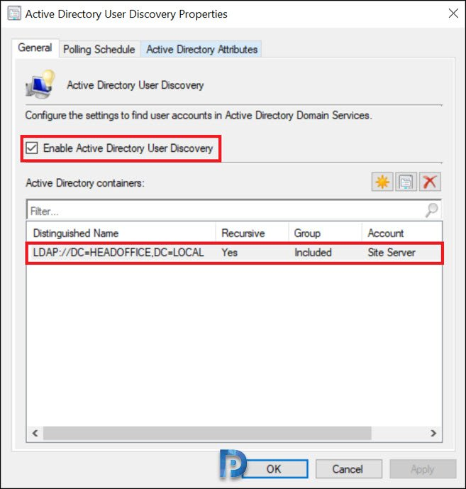Enable Active Directory User discovery