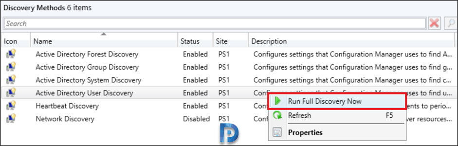 Run Active Directory User discovery