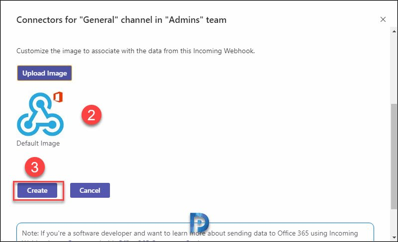 Add an incoming webhook to a Teams channel Snap5