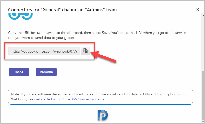 Add an incoming webhook to a Teams channel Snap6