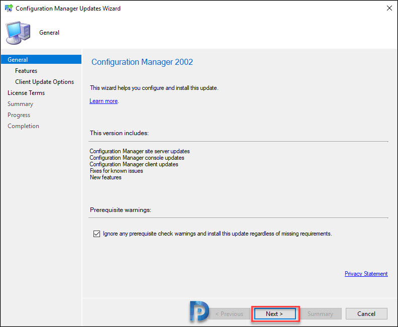Install Configuration Manager 2002 Update