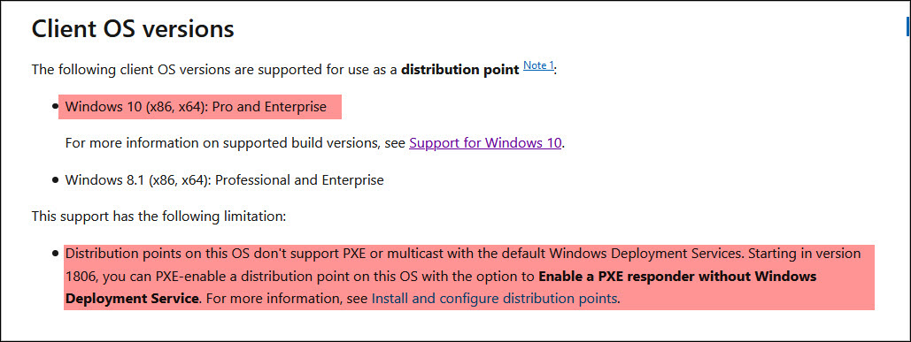client OS versions are supported for use as a ConfigMgr distribution point