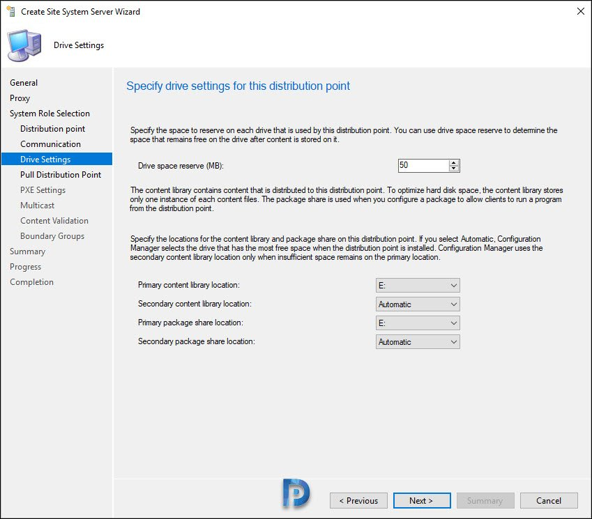 Specify driver settings for the distribution point