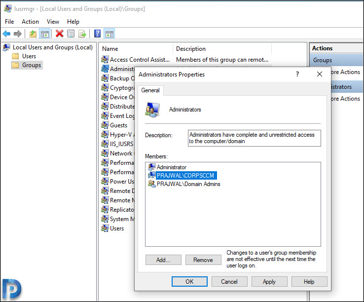 Add SCCM site server computer account to the Local Administrators group