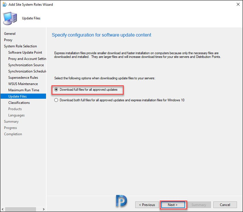 software update content configuration