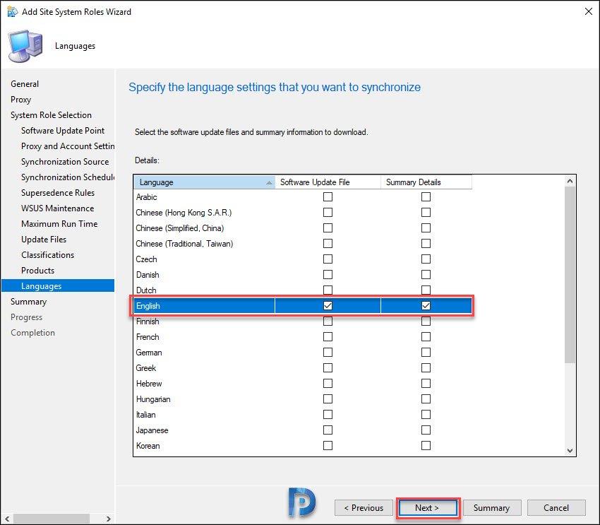 Specify language settings