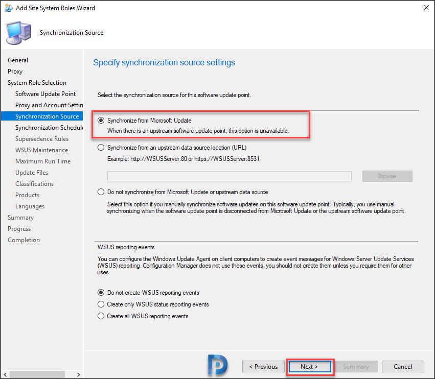 Specify Synchronization Source settings
