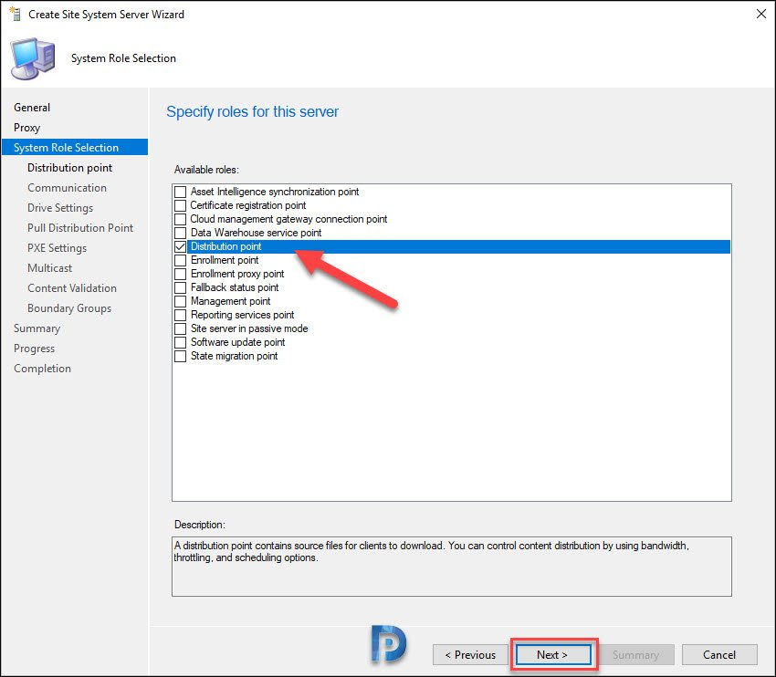 add or install distribution point role on our Windows Server Core OS
