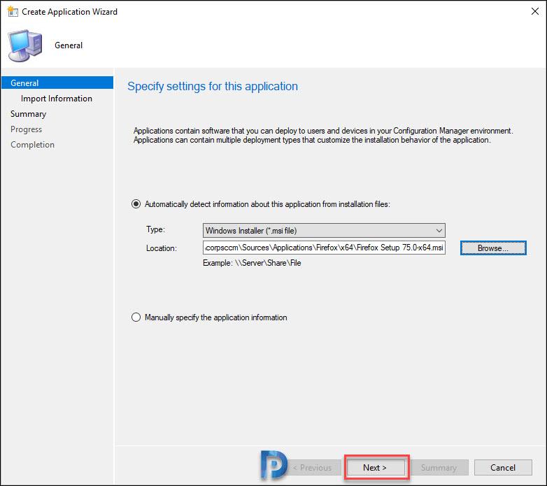 Specify the firefox msi installer