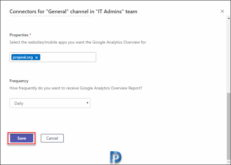 Integrate Google Analytics with Microsoft Teams