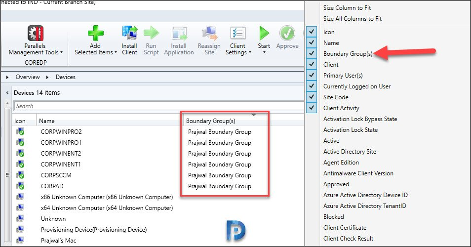 SCCM 2002 Display Boundary Groups for Devices