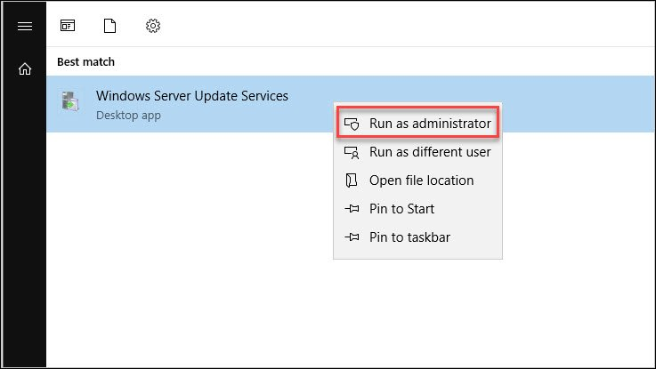 Run the WSUS console as Administrator