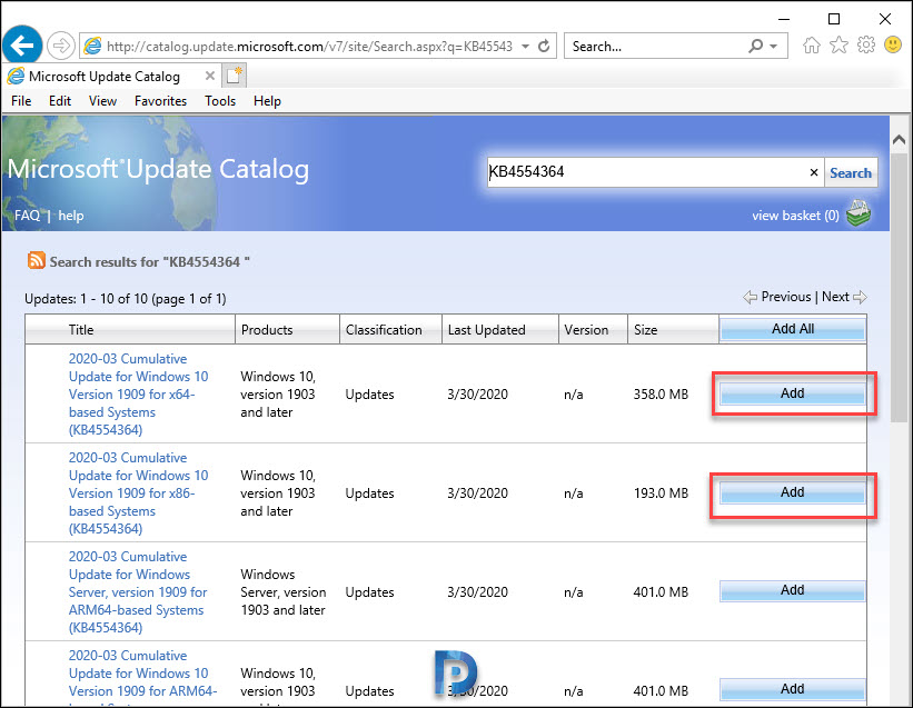 WSUS Update Catalog Add Button Missing Snap8