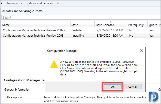 SCCM Technical Preview 2003 console upgrade