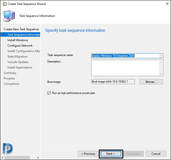 Specify Task Sequence details