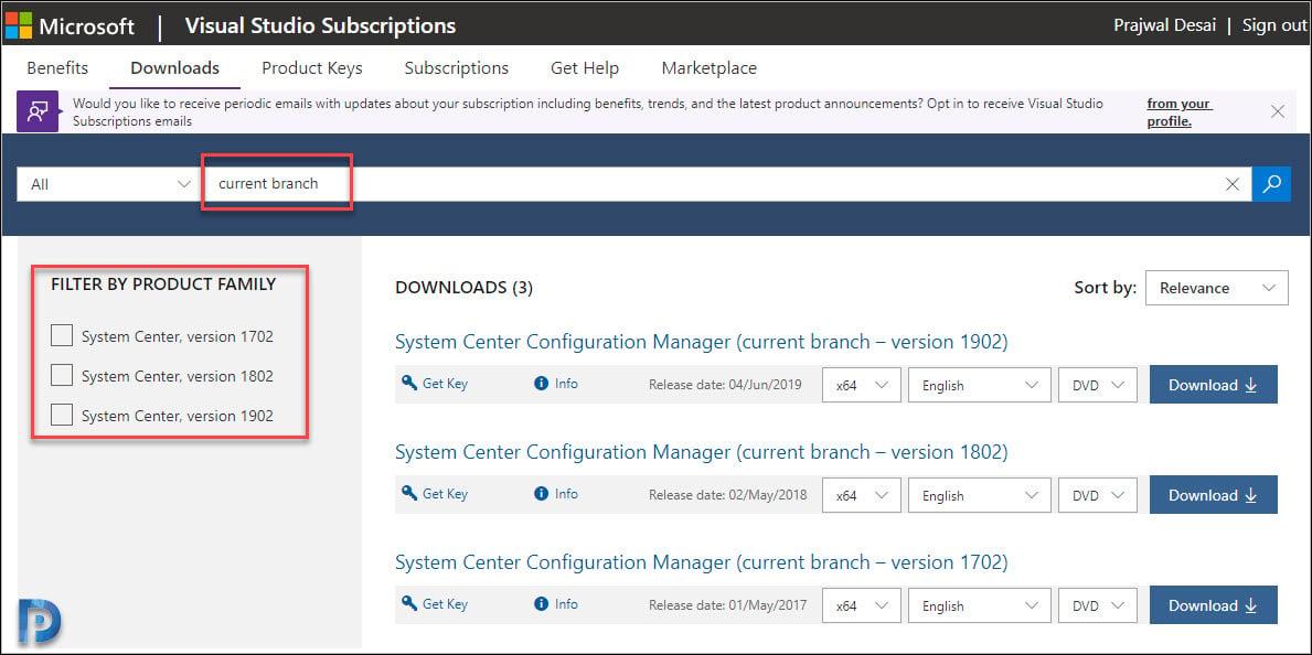 Download ConfigMgr baseline media from MSDN / Visual Studio