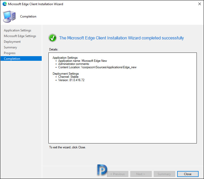 Microsoft Edge Application creation fails in SCCM Snap5