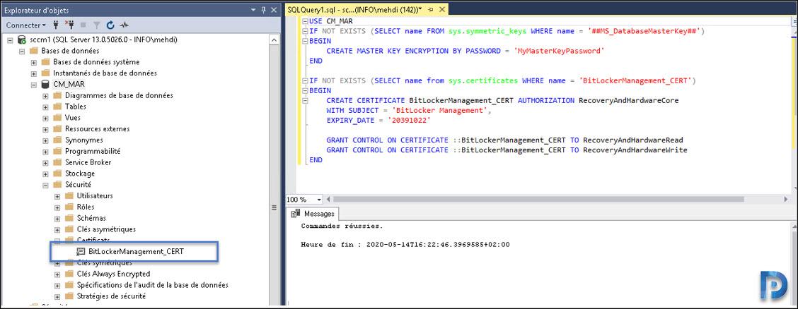 Create BitLocker Certificate in SCCM