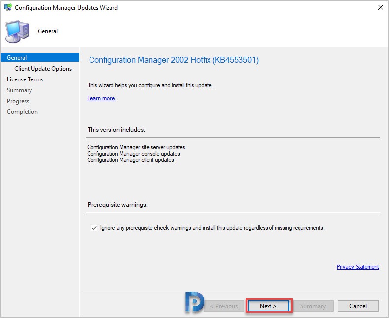 Install Configuration Manager 2002 Hotfix KB4553501