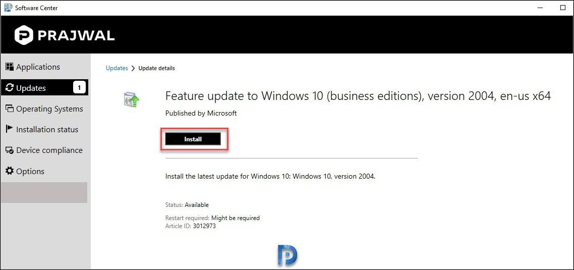 Install Windows 10 2004 update using SCCM