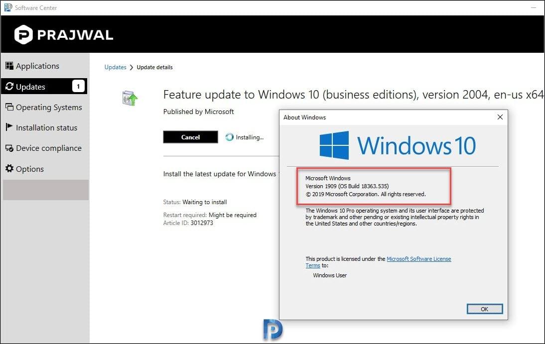 Upgrade to Windows 10 2004 using SCCM Snap28