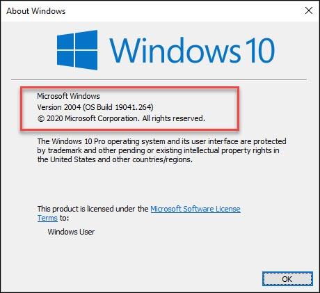 Windows 10 2004 version check