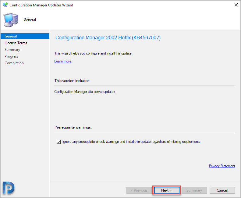 Install Configuration Manager 2002 Hotfix (KB4567007)