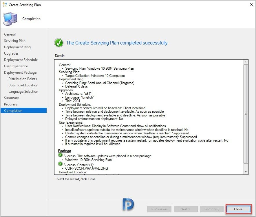 Create ConfigMgr Servicing Plan