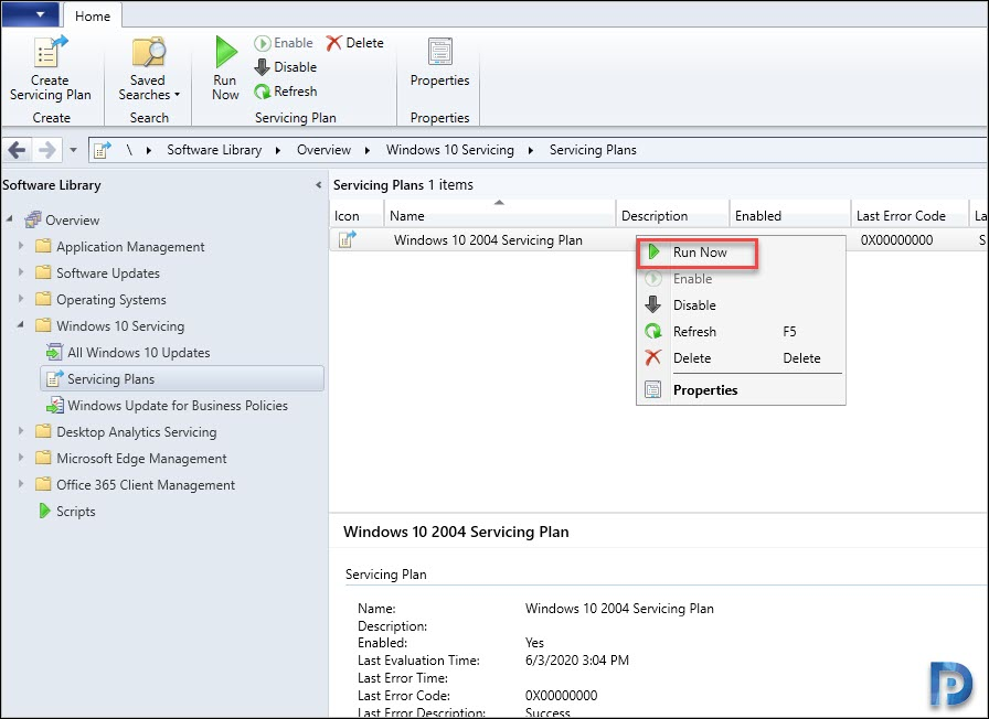 Deploy Windows 10 2004 using ConfigMgr Servicing Plan