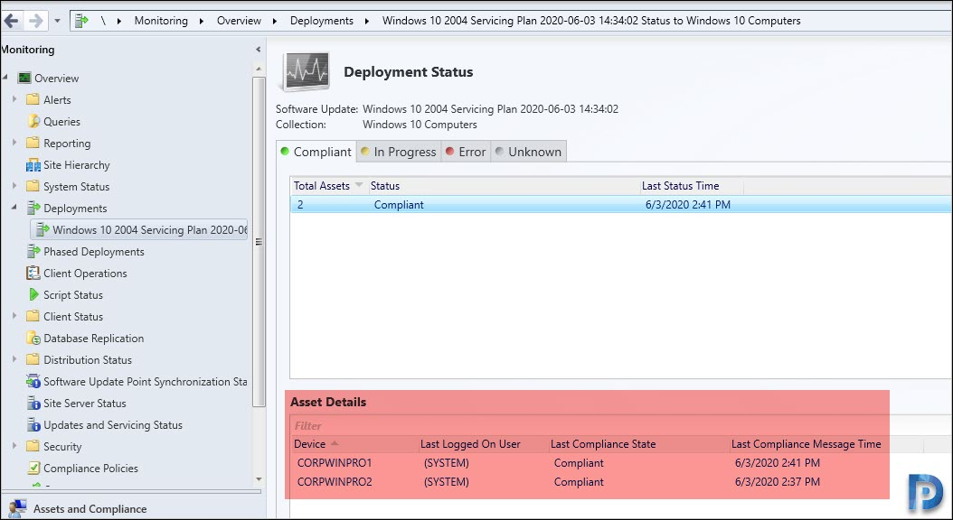 Monitoring Windows 10 2004 deployment