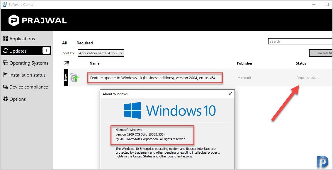 Windows 10 2004 feature update installed