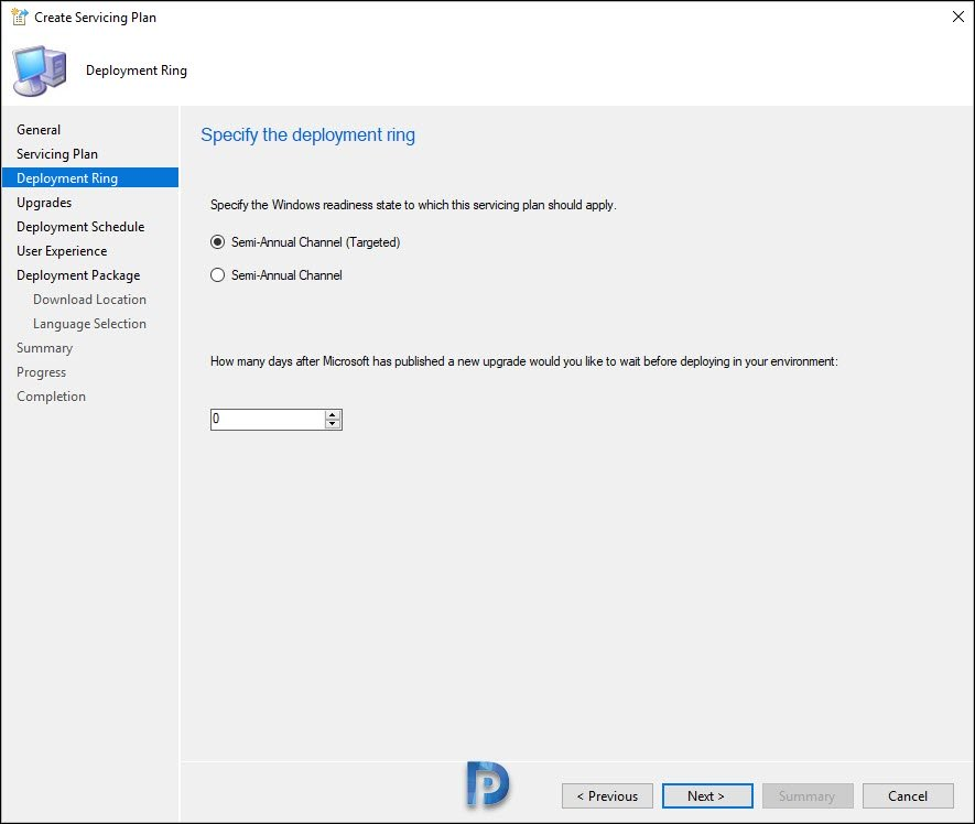 Specify the Windows 10 deployment ring