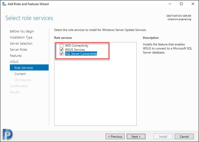 Install WSUS Role for ConfigMgr 2002