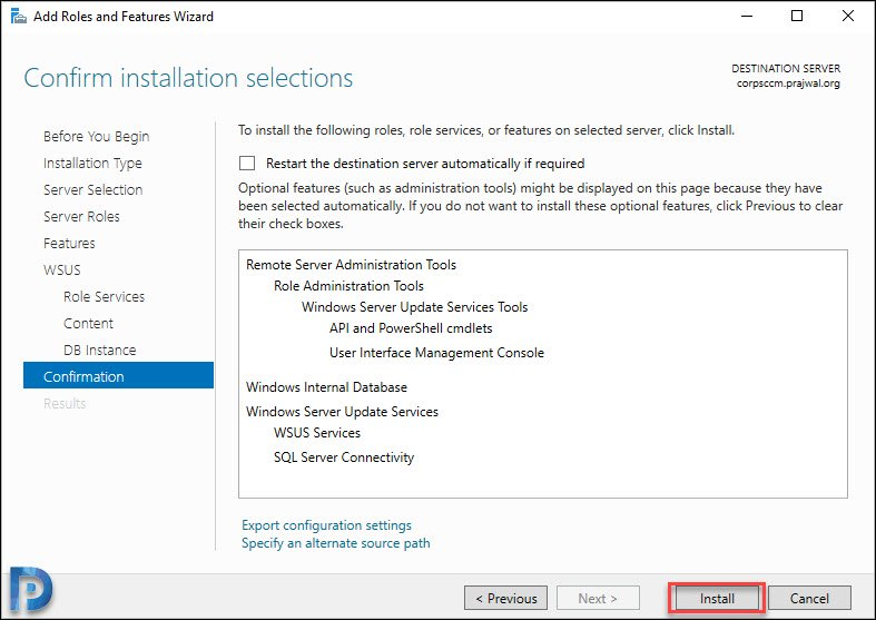 WSUS install selections