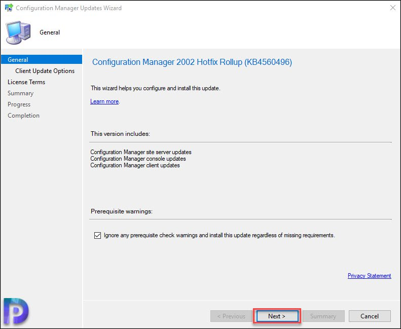 Install Configuration Manager 2002 Hotfix KB4560496