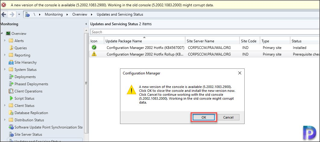 ConfigMgr 2002 Hotfix KB4560496 console upgrade