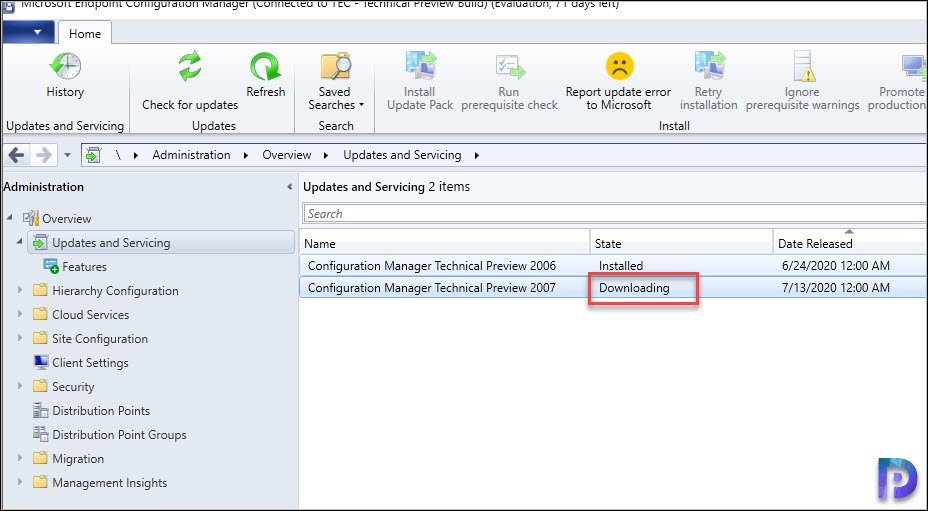 SCCM Updates and Servicing Stuck in Downloading State