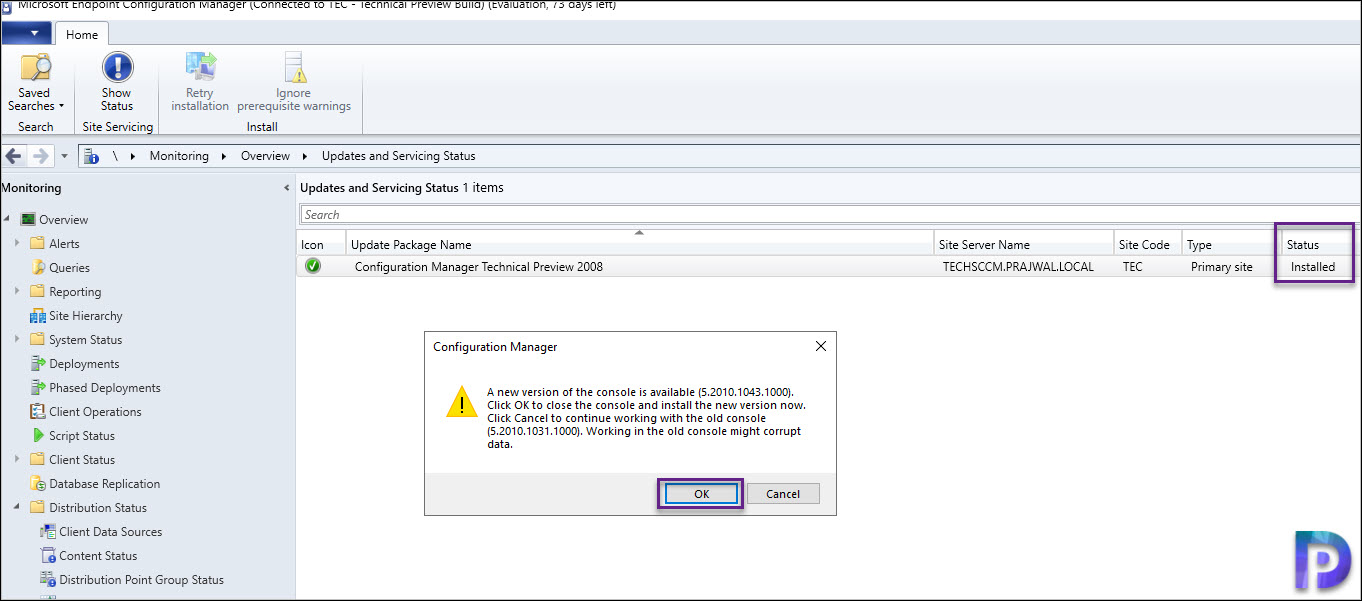 ConfigMgr Technical Preview 2008 Console Upgrade