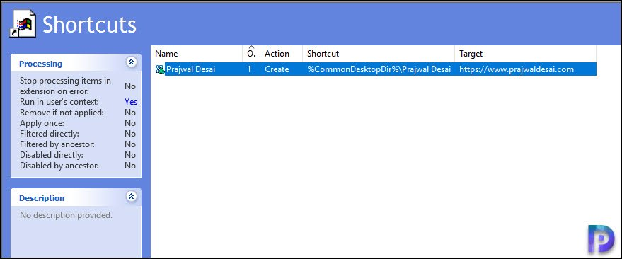 Group Policy to add Shortcuts