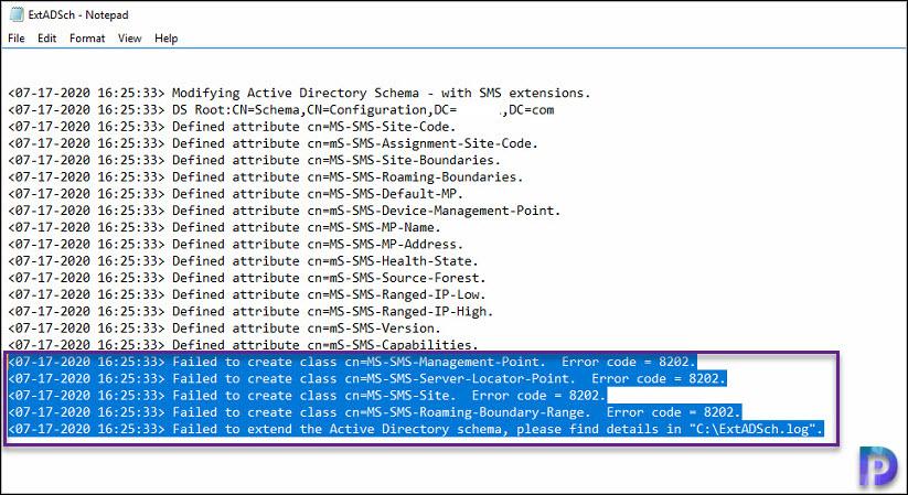 Failed to Extend SCCM Active Directory Schema Error 8202