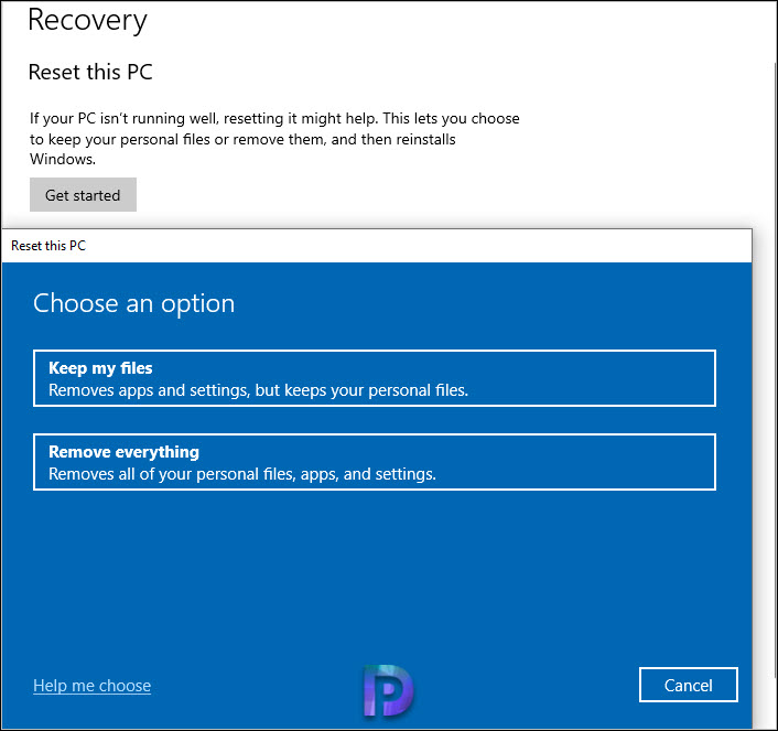 Select one of the option - Keep my Files or Remove everything.