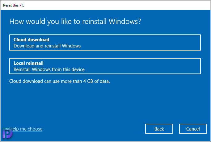 Select Local Reinstall