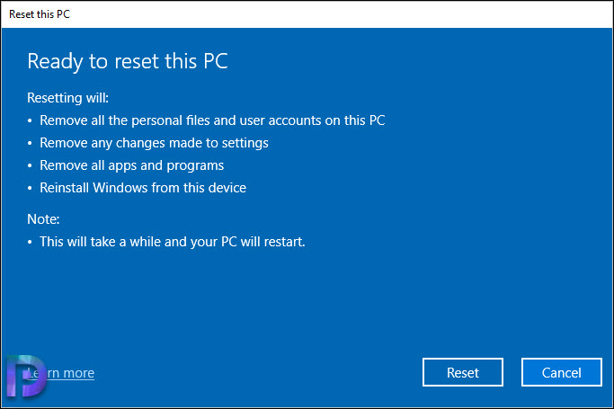 Reset Your Windows 10 laptop or PC
