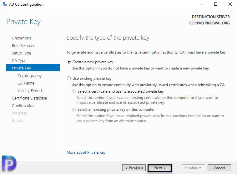 Create new private key