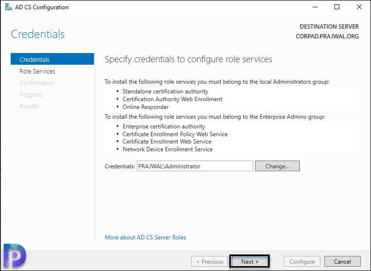 Specify Credentials to configure AD CS
