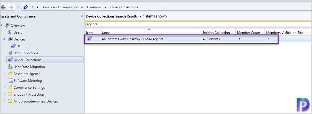 SCCM Device Collection for Desktop Central Agents