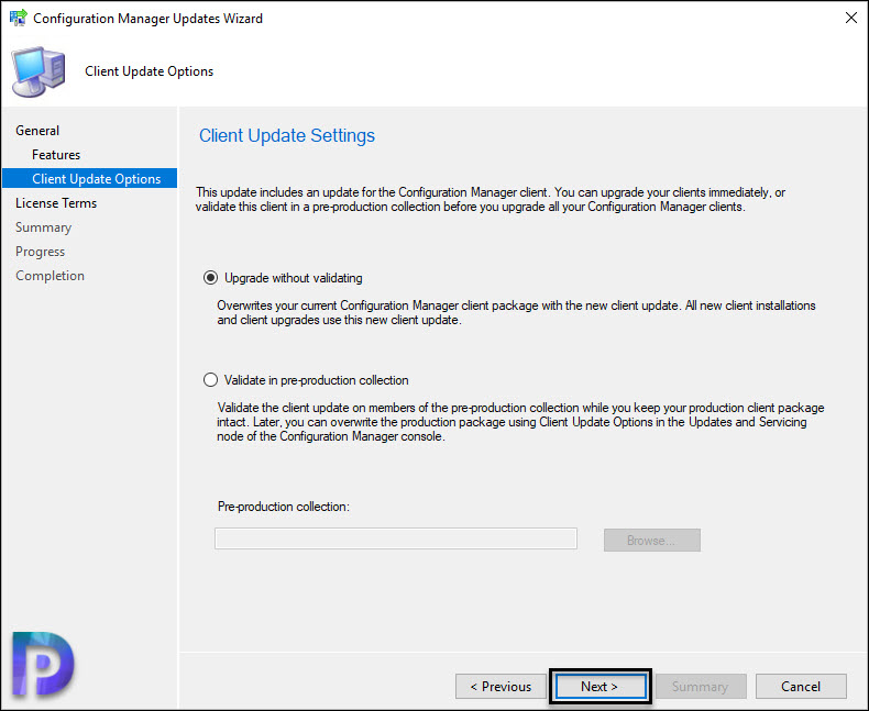 SCCM Client Update Settings