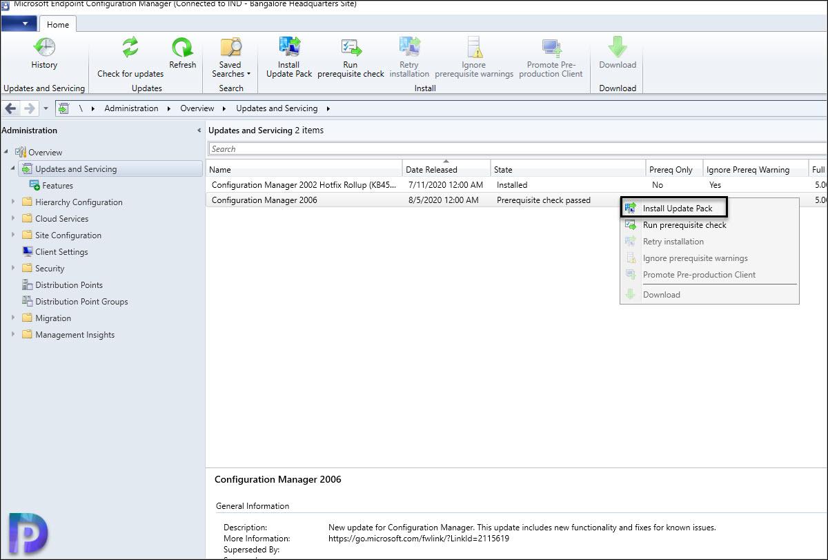 Install SCCM 2006 Update