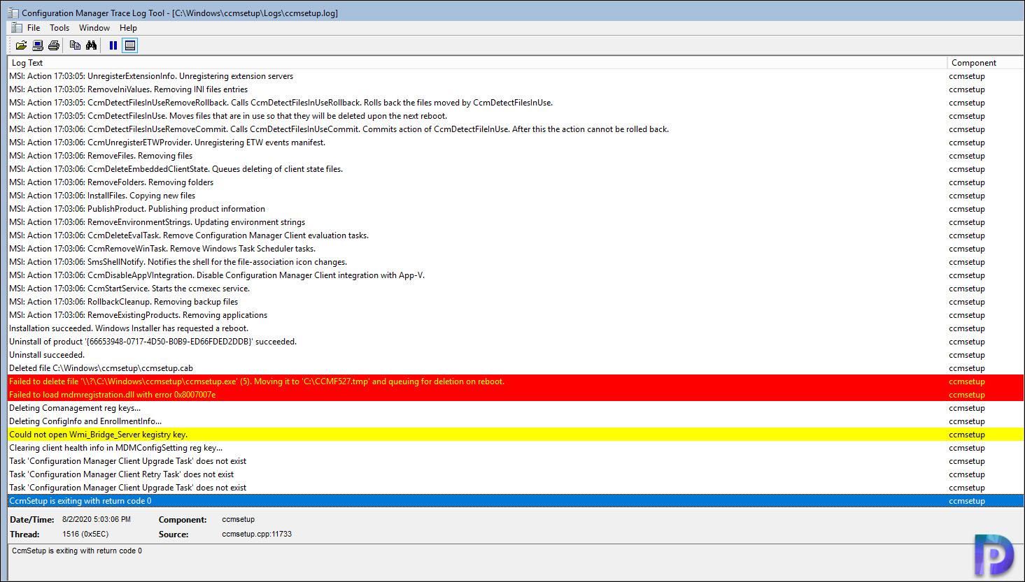 CCMSetup.exe /Uninstall Using Run Scripts